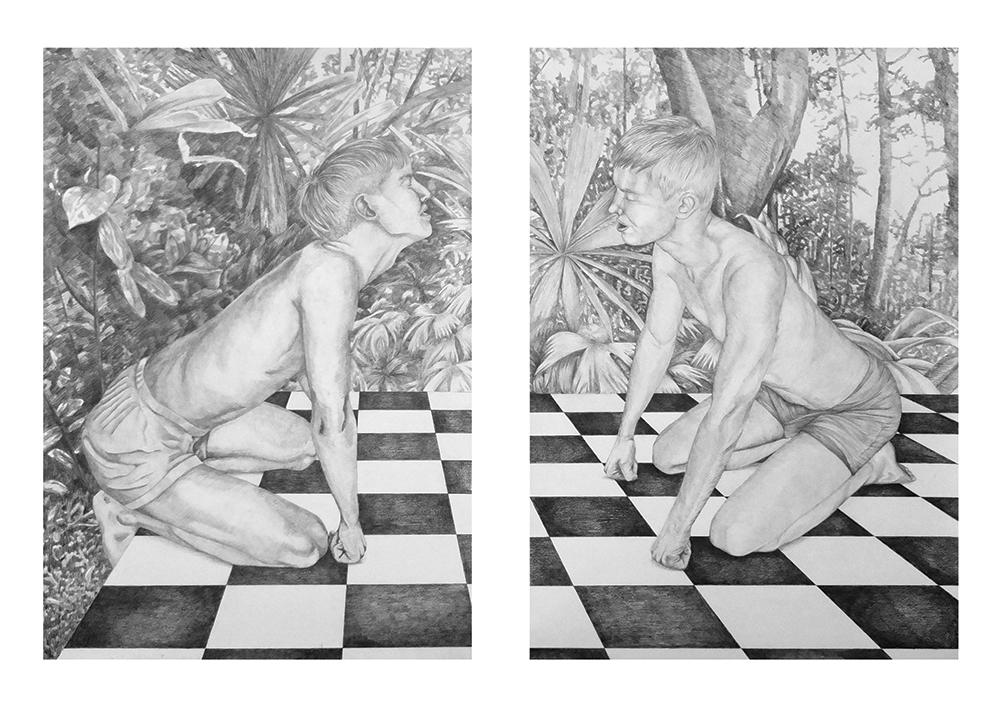 Alban et Dave Diptyque, mine de plomb sur papier, 100x70cm chacun - 2014