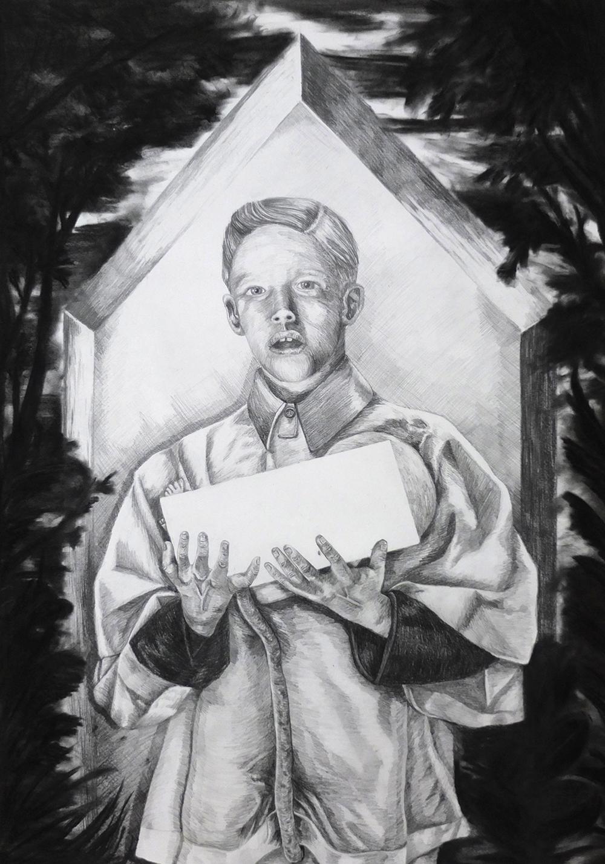 Inception Graphite et fusain sur papier, 100x70cm - 2014