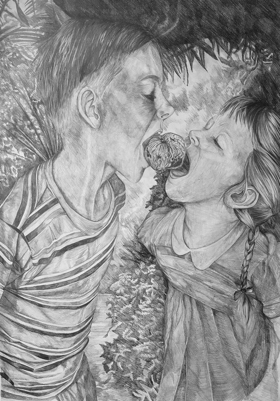 Dernier Portrait Mine de plomb sur papier, 100x70cm - 2014