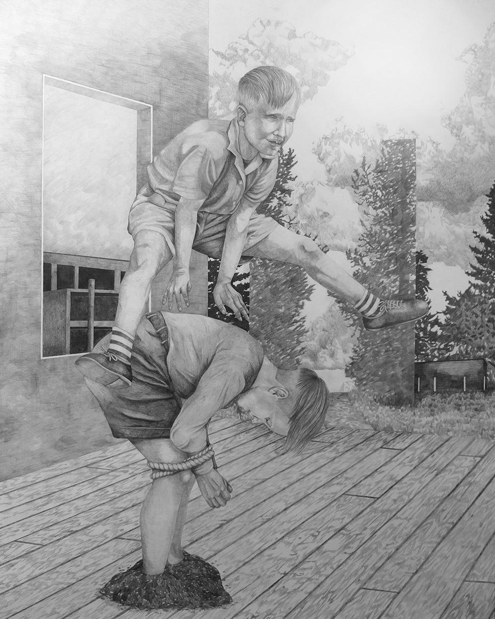 Cheval D'arceau Mine de plomb sur papier, 160x128cm - 2014