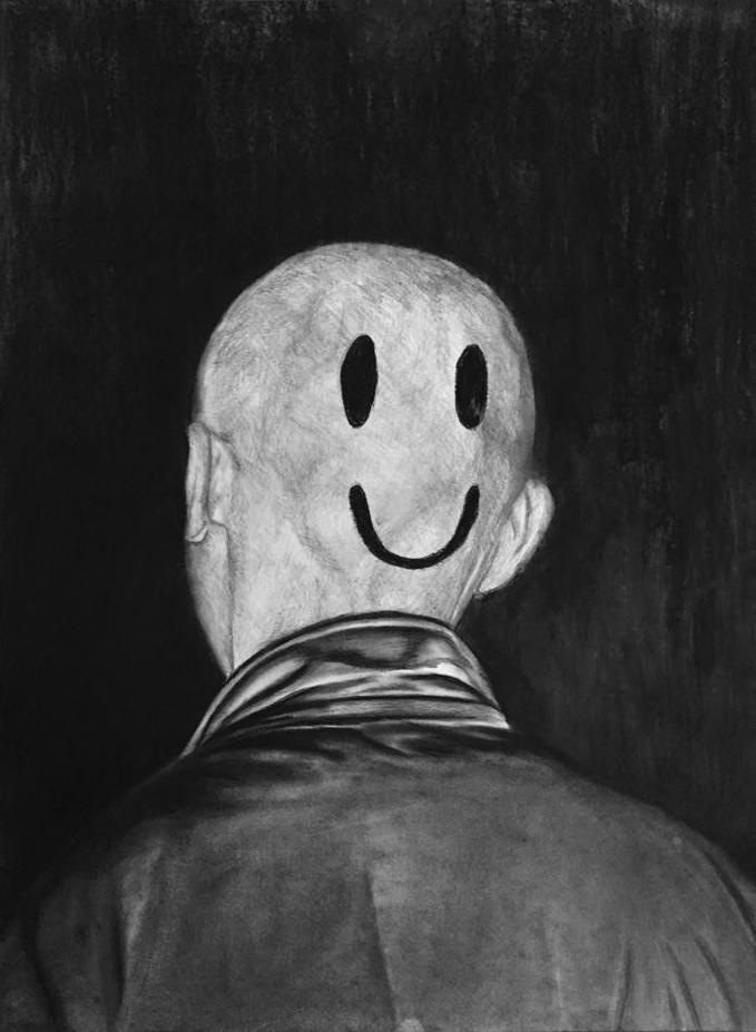 Les yeux sans visage Mine de plomb et fusain sur papier, 70x50cm - 2015